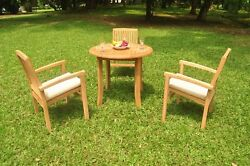 A-grade Teak 4pc Dining 36 Round Table 3 Wave Stacking Arm Chair Set Outdoor