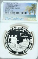1989 Turks And Caicos Silver 20 Crowns Columbus And Indians Ngc Pf 69 Ultra Cameo