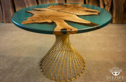 Epoxy Resin Dining Table Solid Walnut Steel Gold Base Custom Made Furniture