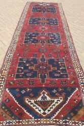 4and0395x14and0394 Antique C1930 Hand Knotted Caucasian Kazak Serap Tribal Wool Rug Runner