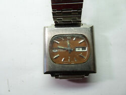 Seiko 5 6119-5400 Automatic Square Watch 21 Jewels Runs For Repair July 1971