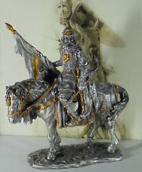 Myths And Legends Pewter Knight Collection Medieval Knight /w Flag And Axe 7218