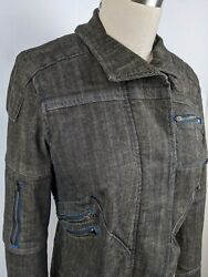 Free People Faded Black Stretch Denim Jacket Womenand039s 6 W/ Multi Zip Blue Buttons