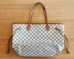 Louis Vuitton Damier Azur Neverfull Mm Tote Bag White Auth Mm5001