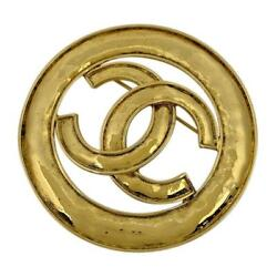 Used Authentic Cc Logo Brooch Pin Round Gp Gold 94p