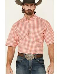 Ariat Menand039s Coral Felix Small Plaid Short Sleeve Western Shirt - 10035038