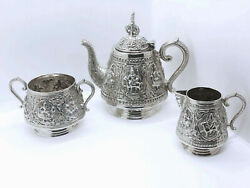 Antique Indian Swami Tea Set In Sterling Silver India Raj Early 1900s