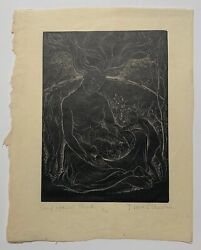 Scarce Nora Unwin 'some Against Sheep' Mother Nature Signed Woodcut - Art Deco