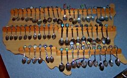 Wood United States Usa Collector Spoon Souvenir Display Holder Rack W 60 Spoons