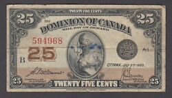 Canada P.11b-4968 25 Cents 1923 Sig Mccavour-saunders See Scan Low Shipping