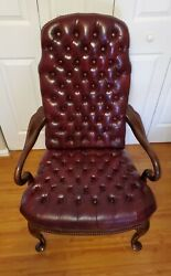 Vintage Tufted Cordovan Leather Chair Queen Anne Chesterfield Library Armchair