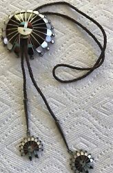 Vintage Signed Zuni Sterling Silver Inlay Sunface Bolo With Matching Tips