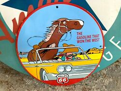Top Quality Phillips 66 - Won The West Porcelain Coated 18 Gauge Steel Sign