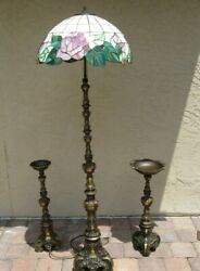 Antique Baroque Style Bronze Floor Lamp, Ash Tray, Candle Holder