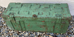 Vintage 1956 Military Metal Ammo Box With Made Shelfandrsquos In Top