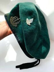 Vintage Israeli Army Green Soldier Beret Hat Cap Military Wool Size 54