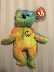Rare Ty Beanie Baby Peace Bear With Tag Errors And Pvc Pellets