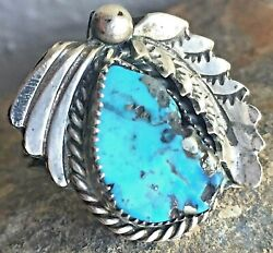 Vtg Navajo Turquoise Ring Pyrite Matrix Signed By Tom Ahasteen Sz 6.5 Rough Cut