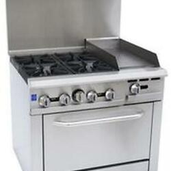 Falcon Food Service 36 4 Burner Gas Range W/ 12 Right Side Griddle And Oven