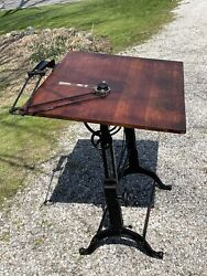 Rare Antique Frederick Post Cast Iron And Oak Drafting Table Excellent Condition