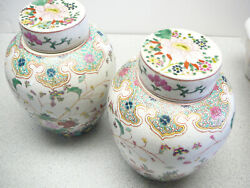 Fine Pair Of Chinese Porcelain Famille Rose Jars And Covers 18th 19th C
