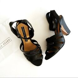 Veronica Beard Black Strappy Leather Wedges Heels New Womens 37.5 7.5
