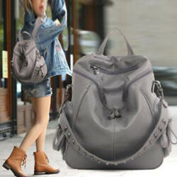 Simple Large capacity Simple Rivet Backpack Women Soft Leather Bags $34.21