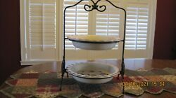 2 Longaberger 10 Inch Berry Pie Plates With Wrought Iron 2-pie Stand Perfect