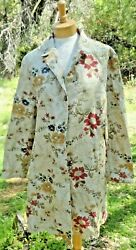 NEW Two Star Dog Womens Tapestry Coat Embroidered Flowers Size L Large TSD