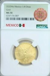 2020 Mexico 1/4 Onza Gold Libertad Ngc Ms 70 Perfection Low Mintage Key Date