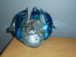 Vtg Murano Style Art Glass Sculpture Paperweight 3 Dolphins On Bubbled Ball