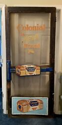 Antique Colonial Bread Country Store Door. Push Display Kick Plate Complete