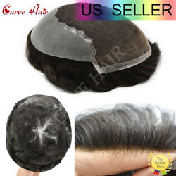 Mens Toupee Human Hairpieces French Lace Front Q6 Replacement Systems Mens Units