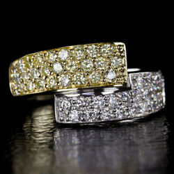 1.5ct Ideal Cut F-g Vs Natural Fancy Yellow Diamonds Cocktail Band Cluster Ring
