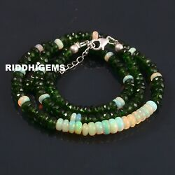 Ethiopian Opal Chrome Diopside Beads Necklace 925 Sterling Silver Lobster A-131