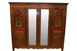 Storage And Value, Vintage French Breton Mirrored Armoire, Oak, 1940's