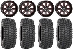 System 3 St-4 14 Wheels Red 30 Xcr350 Tires Honda Foreman Rancher Sra