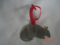 Unique Vtg. Figural Flat Armadillo Pewter Christmas Ornament Very Detailed