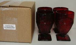 Cambridge Mt Vernon Ruby Red Ice Tea Glasses Set Of Four More Here Mint In Box