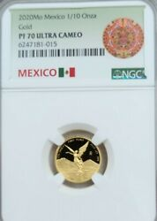 2020 Mexico 1/10 Onza Gold Libertad Ngc Pf 70 Ultra Cameo Key Only 250 Minted