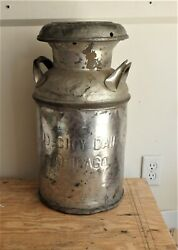 Antique 5 Gallon Milk Can Mid City Dairy Chicago Lid Western United Unpainted