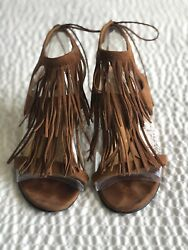 Tanya Heath Fringed Brown Leather Sandals Size 38.5/us 8