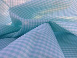 Vintage Fabric Cotton Gingham Turquoise 1 8quot; 44quot; Wide BTHY