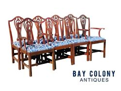 20th C Chippendale Antique Style Set Of 8 Cherry Dining Chairs