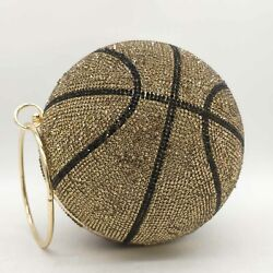 Round Ball Gold Clutch Purses Women Basketball Evening Bags Rhinestone Handbags $37.99