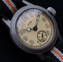 Elgin A-554 Stainless Steel Military Vintage 1061010 Wrist Watch Japan Shipped