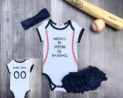 Personalized Girls Baseball Bodysuit Romper Outfit Shirt Set No Crying $37.95