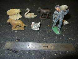 Lot Of Antique Lead Figures Farm Animals And Worker