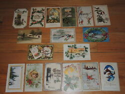Antique Postcard Lot Of 17 Christmas Postcards 1908 1916 And More