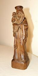 Antique 1800's Religious Hand Carved Wood Mary Madonna Jesus Sculpture Statue